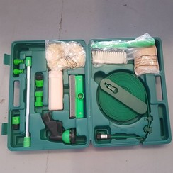 Boat cleaning tool set in a suitcase