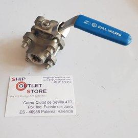 """RC-Inox Válvula de bola 3/4 """"hembra-hembra 316 Inox con protección de bloqueo"""