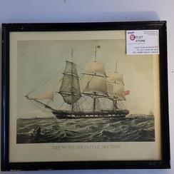 """Oude print in lijst van de """"Windsor Castle 1857 """""""
