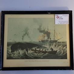 """Grabado antiguo en el marco del """"Pesquería de ballenas del mar del sur ca."""" Dimensions 430 x 320mm"""