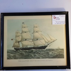 """Oude prent in lijst van de clipper """"Highflyer 1861"""" Afmeting 430 x 320mm"""