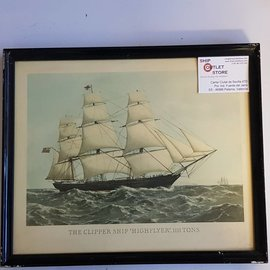 "Oude prent in lijst van de clipper ""Highflyer 1861"" Afmeting 430 x 320mm"