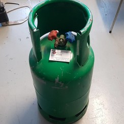 Stalen gasfles voor koelgas met dubbele kraan