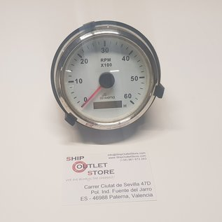 Tachometer 0 - 6000 with hour counter 12 - 24V diam 85mm Wema