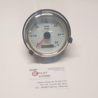 Tacómetro 0 - 6000 con contador de horas 12 - 24V diám. 85 mm Wema
