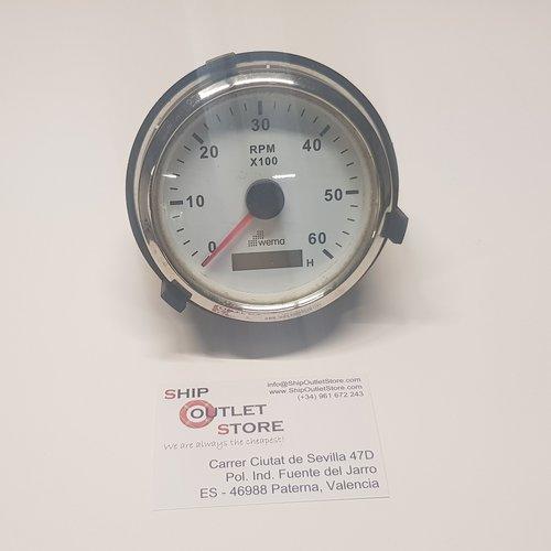 Tachometer 0 - 6000 with hour counter 12 - 24V diam 85mm Wema