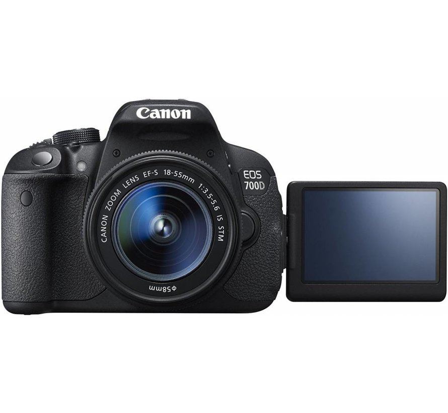 Canon EOS 700D SLR-Digitalkamera (18 megapíxeles, 7,6 cm (3 Zoll) Pantalla táctil, Full HD, Live-View) Kit inkl. EF-S 18-55mm 1: 3,5-5,6 IS STM