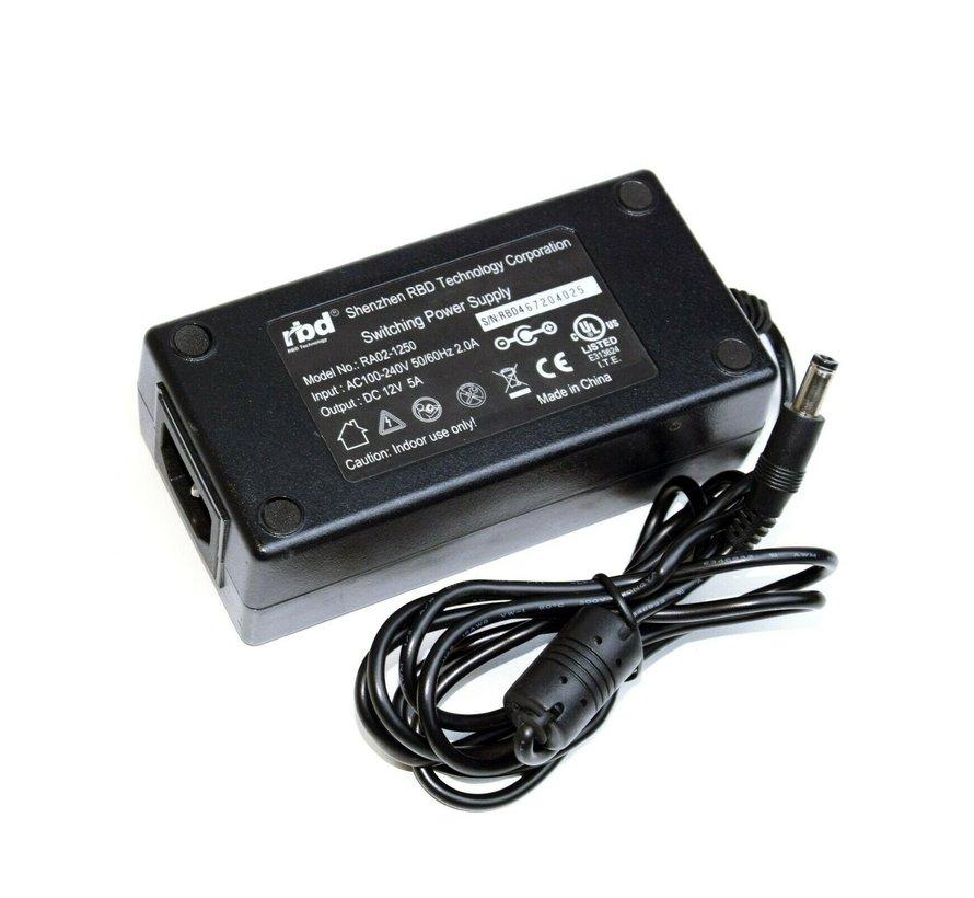 RBD Technology Corporation RA02-1250 Fuente de alimentación 12V 5A Fuente de alimentación Cargador