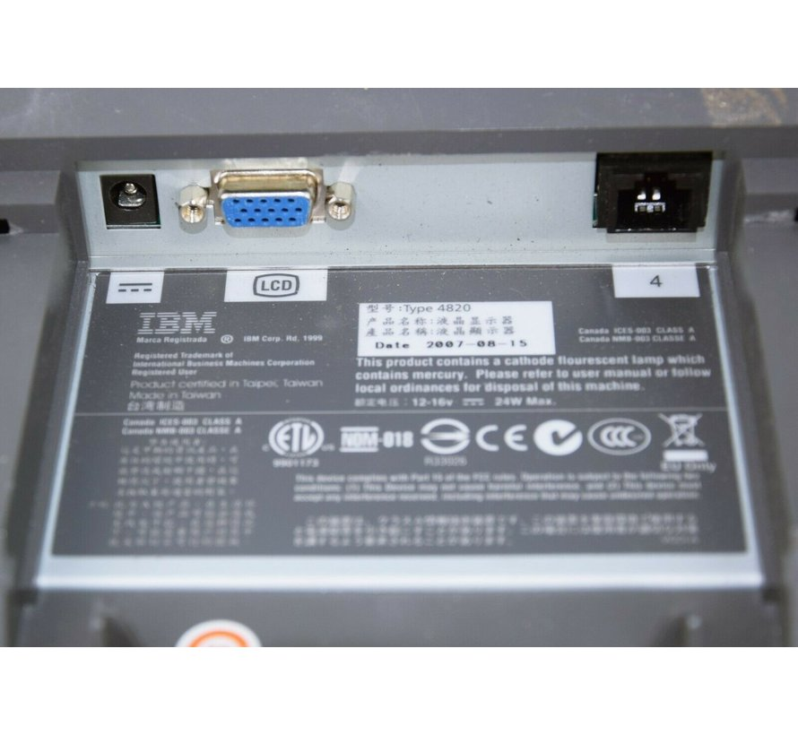 """IBM 15 """"Touch Monitor Type 4820 Touch Monitor SurePoint Touch Screen Display LCD"""