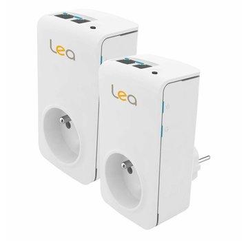 Lea 2 x Adaptador Lea NetSocket 200 Nano Powerline Adaptador de red de 200 Mbps