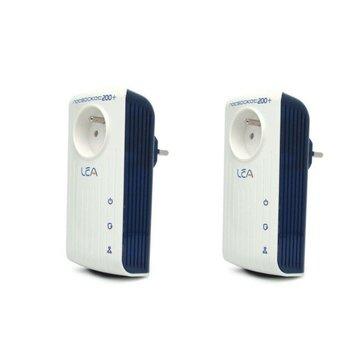 Lea 2 x Lea NetSocket 200+ Powerline Adapter 200Mbps Netzwerkadapter Set