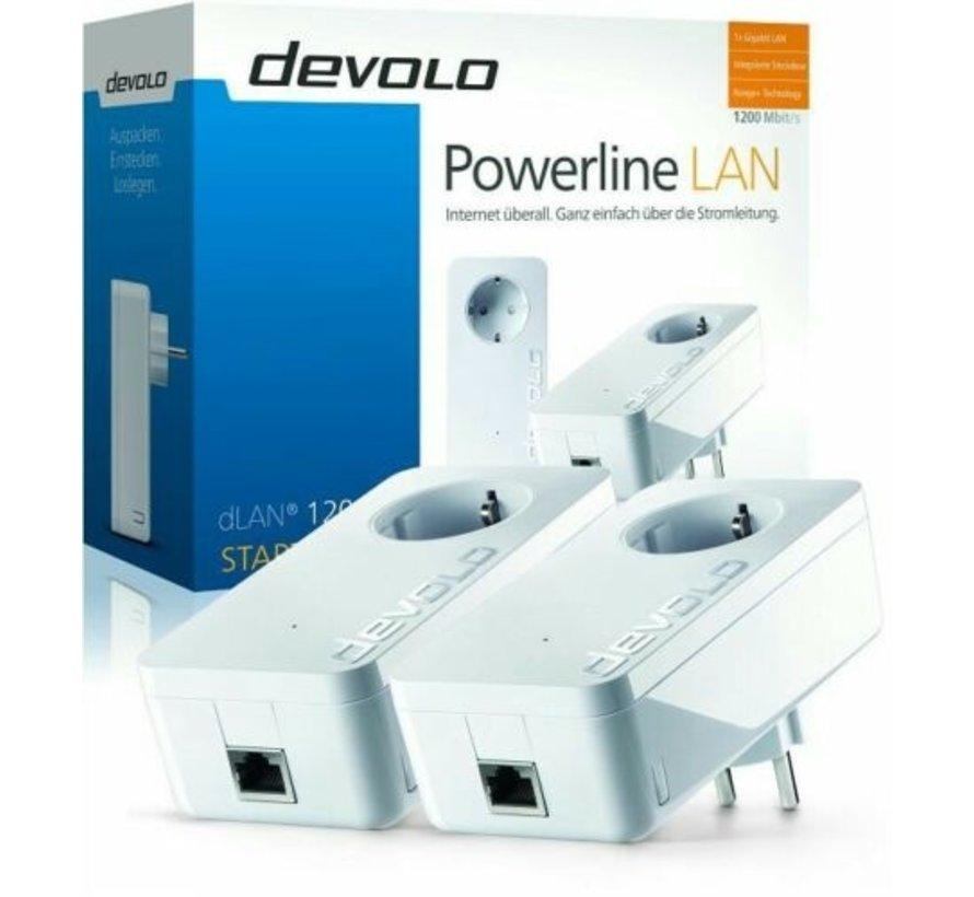 DEVOLO 9376 DLAN 1200+ STARTER KIT POWERLINE SET 2 STÜCK & STECKDOSE