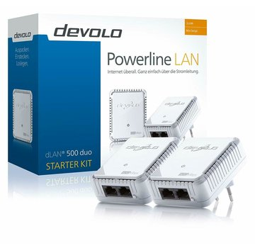 DEVOLO dLAN 500 DUO STARTER Kit PowerLAN D-LAN DLAN Powerline con 500 Mbit / s