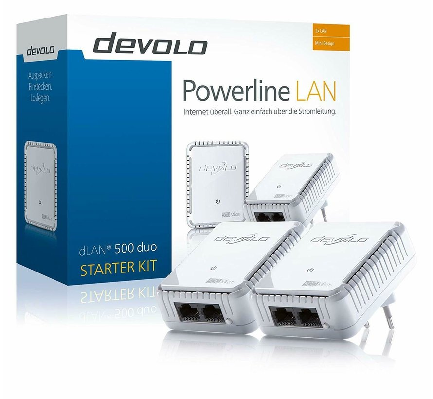 DEVOLO dLAN 500 DUO STARTER Kit PowerLAN D-LAN DLAN Powerline mit 500 Mbit/s