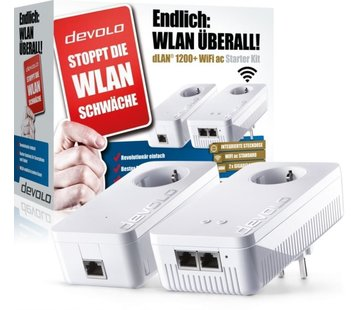 DEVOLO dLAN 1200+ WiFi ac Starter Kit Weiss Powerline WLAN 9390 LAN / WLAN