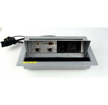 Kindermann Typ 7444 Tisch/Deckeneinbaugehäuse 2x Strom 2x LAN 1x VGA 1x Audio 3,5