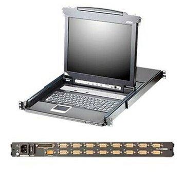 """Aten CL5716M Consola KVM deslizable LCD de un solo riel de 16 puertos LCD de 17 """""""