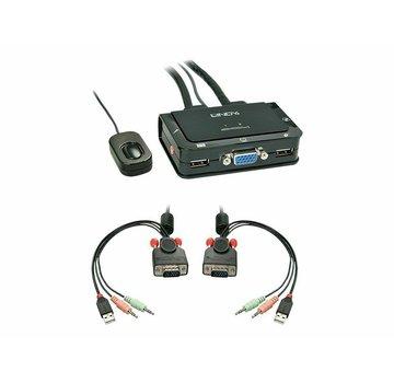 42342 Lindy VGA KVM Switch Compact USB 2.0 Audio 2 Port NEU