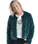 Evan short fake fur jacket green