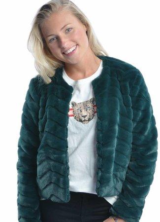 Evan short fake fur jacket green