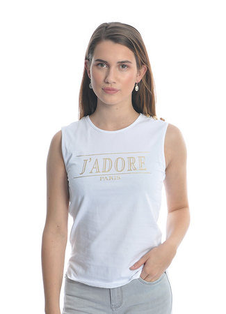 TESS V J'adore top white