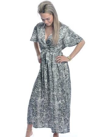 TESS V Evi maxi jurk grey