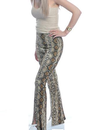 TESS V Snake flared pants beige