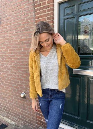 TESS V Kiki faux fur jacket yellow