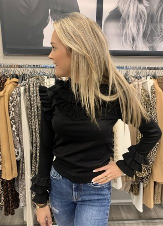 TESS V Juul ruffle top black