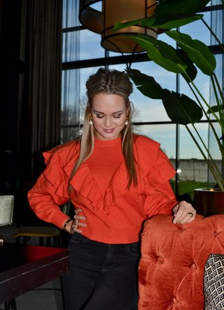 TESS V Ruffle knit orange