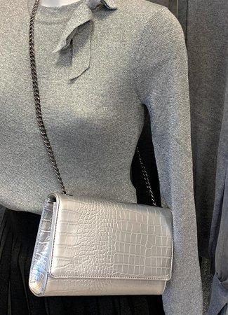 TESS V Croco bag silver