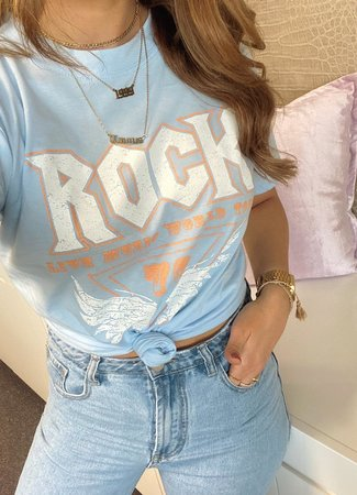 TESS V Rock tee light blue