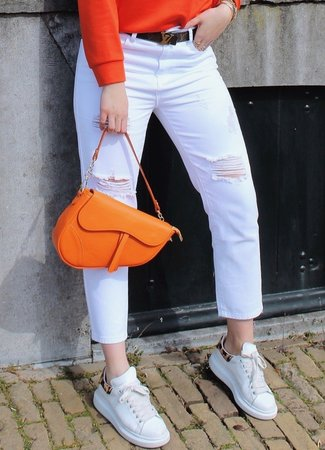 TESS V Demi mom jeans white