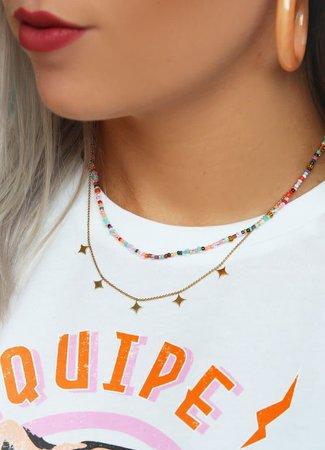 My Jewellery Dubbele ketting kralen & ruitjes