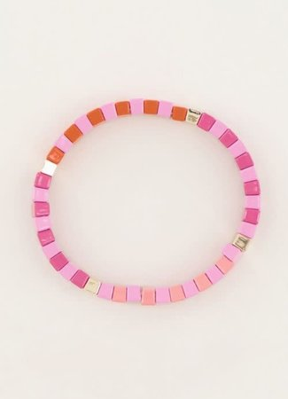 My Jewellery Armband met roze platte kralen