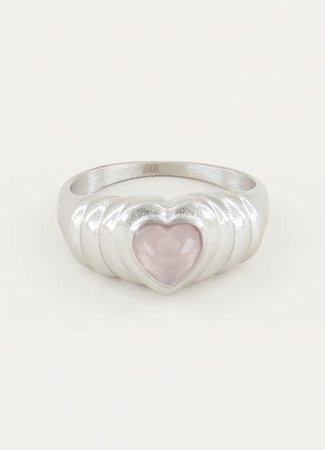 TESS V Ring Rose Quartz hartje