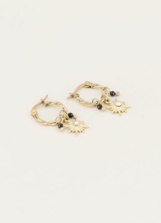 My Jewellery Oorringen ster & zwarte kraal