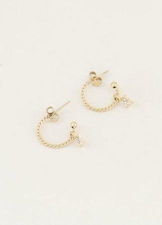 My Jewellery Oorringen sterretje & strass steen