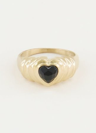 TESS V Ring Black Onyx hartje