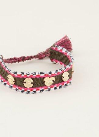Bohemian armband met bedeltjes rood