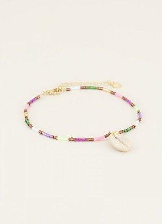 My Jewellery Enkelbandje multikleur kraaltjes & schelp