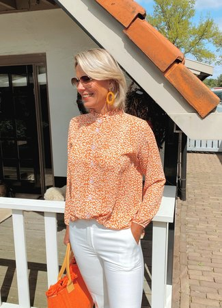 TESS V Feline blouse orange