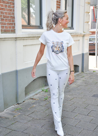 Dominique flared pants stars white