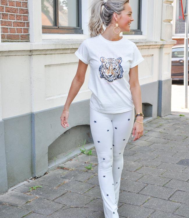 Ambika Dominique flared pants stars white