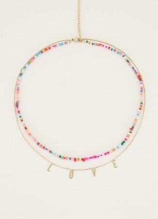 My Jewellery Dubbele ketting kralen & love