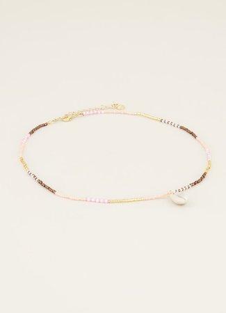 My Jewellery Ketting roze & bruine kraaltjes & schelp