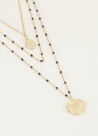 My Jewellery Driedubbele ketting muntjes en kralen