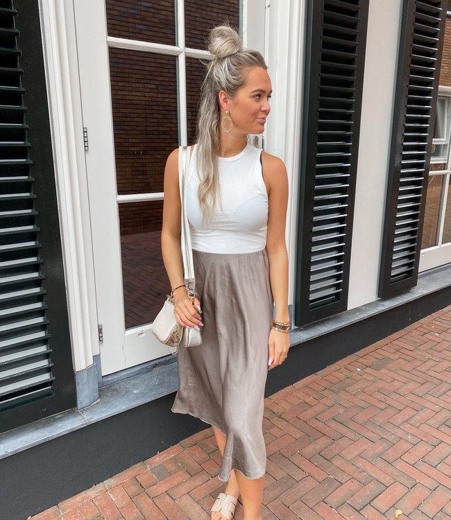 TESS V Satin skirt brown