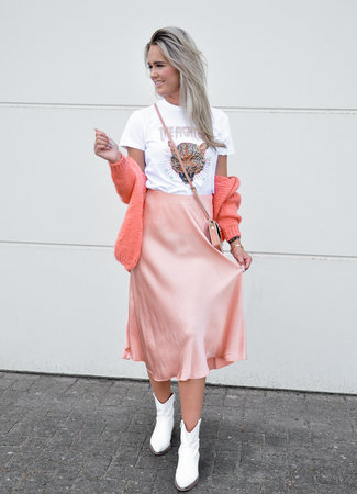 TESS V Satin skirt peach