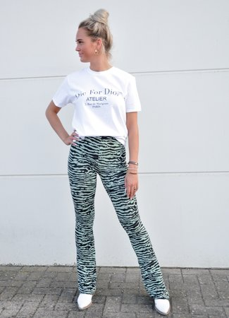 Ambika Dominique flared pants zebra green